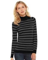 Essential striped mockneck sweater medium 160658