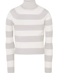 Zimmermann Whitewave Cropped Striped Ribbed Knit Sweater