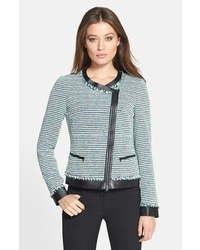 Grey Horizontal Striped Tweed Jacket