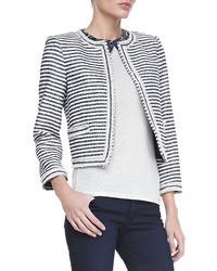 Alice + Olivia Kidman Cropped Horizontal Striped Jacket