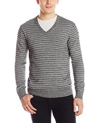 Grey Horizontal Striped V-neck Sweater