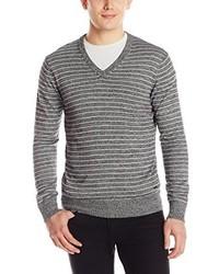 DKNY Jeans Long Sleeve Stripe Marl V Neck Sweater