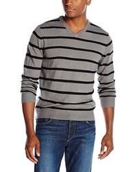 Haggar jersey stripe v neck sweater medium 339483