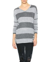 Love stitch lovestitch gray striped sweater medium 426615