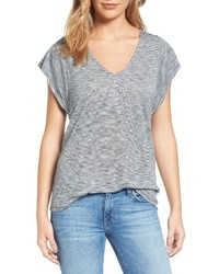 Grey Horizontal Striped V-neck T-shirt