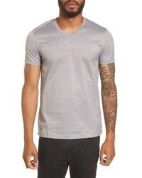 BOSS Slim Fit Stripe V Neck T Shirt