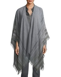 Striped wool blend poncho medium 5259726