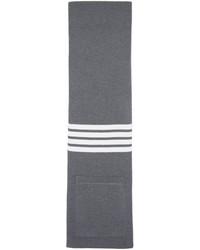Thom Browne Grey Rib Wool Pocket Four Bar Scarf
