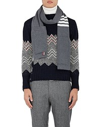 Thom Browne Striped Rib Knit Merino Wool Scarf