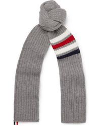 Thom Browne Striped Ribbed Wool Scarf