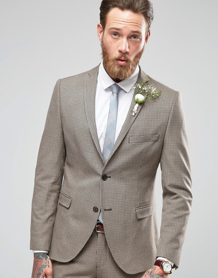 Selected Homme Houndstooth Wedding Suit Jacket With Stretch ...