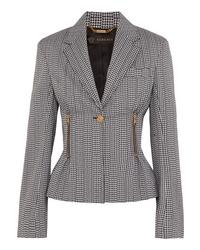 Versace Houndstooth Cotton Blend Blazer