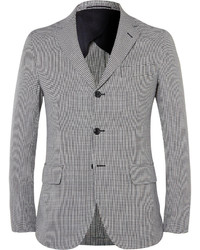 Mp Massimo Piombo Slim Fit Houndstooth Cotton And Linen Blend Blazer