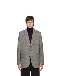 AMI Alexandre Mattiussi Off White And Black Herringbone Blazer