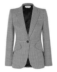 Alexander McQueen Prince Of Wales And Houndstooth Checked Wool Blazer