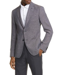 Z Zegna Trim Fit Houndstooth Wool Linen Sport Coat
