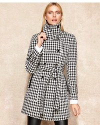Calvin Klein Houndstooth Wool Blend Trench Coat