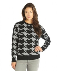 Walter Black And Grey Textured Knit Houndstooth Brandi Sweater