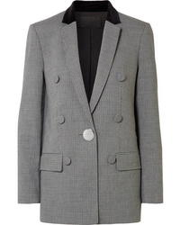 Alexander Wang Velvet And Leather Trimmed Houndstooth Woven Blazer
