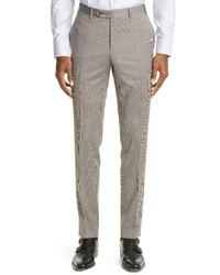 Canali Milano Mini Houndstooth Stretch Wool Dress Pants