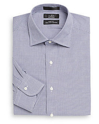 Slim fit houndstooth two ply cotton dress shirt medium 259685