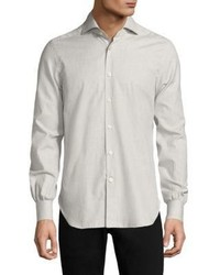 Kiton Small Houndstooth Cotton Casual Button Down Shirt