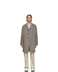 Prada Orange And Grey Virgin Tweed Coat