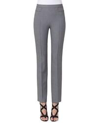 Akris Punto Francoise Mini Houndstooth Straight Leg Pants Gray