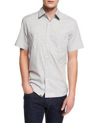 Billy Reid Tonal Houndstooth Short Sleeve Sport Shirt Gray