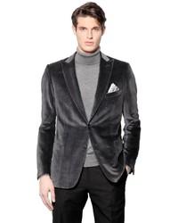 Brioni Houndstooth Cotton Silk Velvet Jacket
