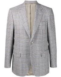 Canali Check Print Single Breasted Blazer