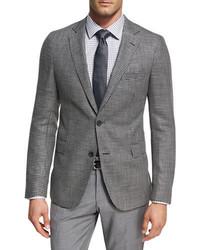 BOSS Houndstooth Jersey Wool Sport Coat Charcoal