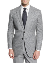 Giorgio Armani Taylor Mod Houndstooth Wool Sport Coat Light Gray