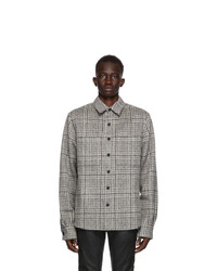 Grey Houndstooth Wool Long Sleeve Shirt