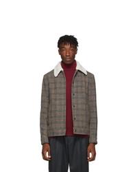 Barena Grey And Red Masolo Cito Overshirt Jacket