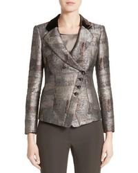 Armani Collezioni Panel Jacquard Asymmetrical Jacket