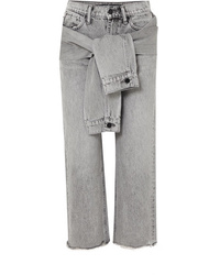 Alexander Wang Cropped Distressed High Rise Straight Leg Jeans