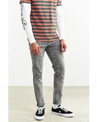 Dr. Denim Grey Acid Wash Snap Skinny Jean