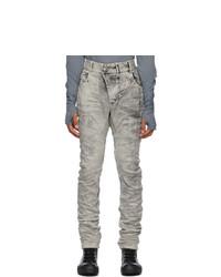 Boris Bidjan Saberi Grey Crinkled Jeans