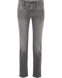 Brunello Cucinelli Metallic Mid Rise Straight Leg Jeans Gray