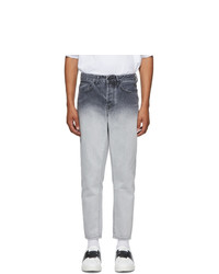 Marcelo Burlon County of Milan White And Black Denim Gradient Jeans