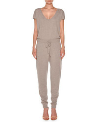 Short sleeve cashmere drawstring jumpsuit taupe medium 4948504