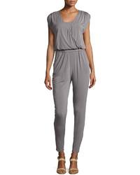 Neiman Marcus Surplice Neck Sleeveless Jersey Jumpsuit Gray