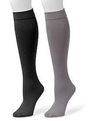 Muk Luks 2 Pk Fleece Lined Knee High Socks