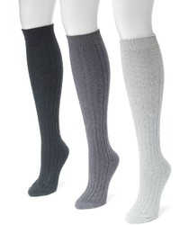 Muk Luks 3 Pk Cable Knit Microfiber Knee High Socks