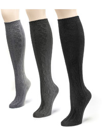 Muk Luks 3 Pk Microfiber Knee High Socks