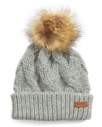 Barbour Ashridge Beanie With Faux Fur Pom Red
