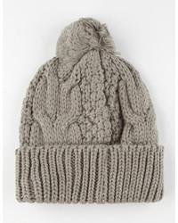 Basic Cable Knit Pom Beanie