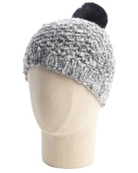 Vince Camuto Black And Grey Stretch Knit Rabbit Fur Pom Pom Marled V Beanie