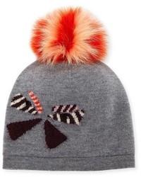 Fendi Butterfleye Pompom Knit Wool Beanie